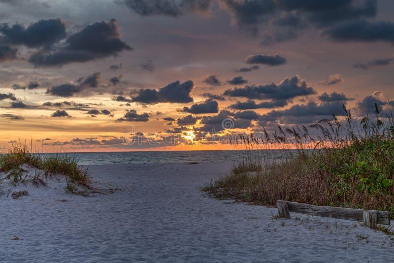 博卡格兰德日落,Gasparilla海岛,佛罗里达,美国 免版税库存图片