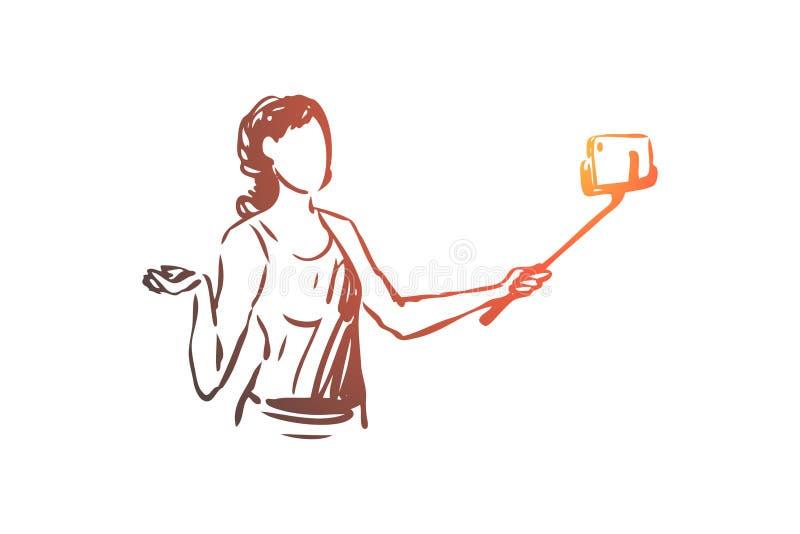 博客作者,智能手机,selfie,妇女概念 r 库存例证