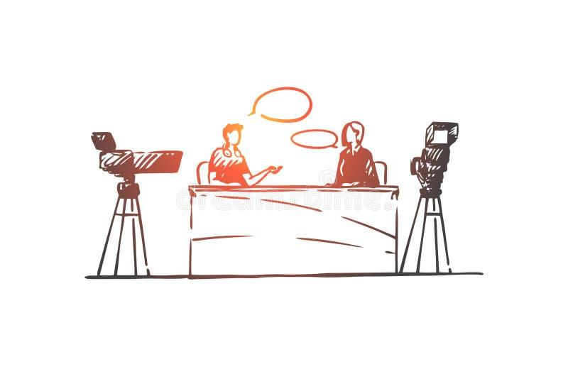 博客作者,采访,通信,媒介,照相机概念 手拉的被隔绝的传染媒介 库存例证