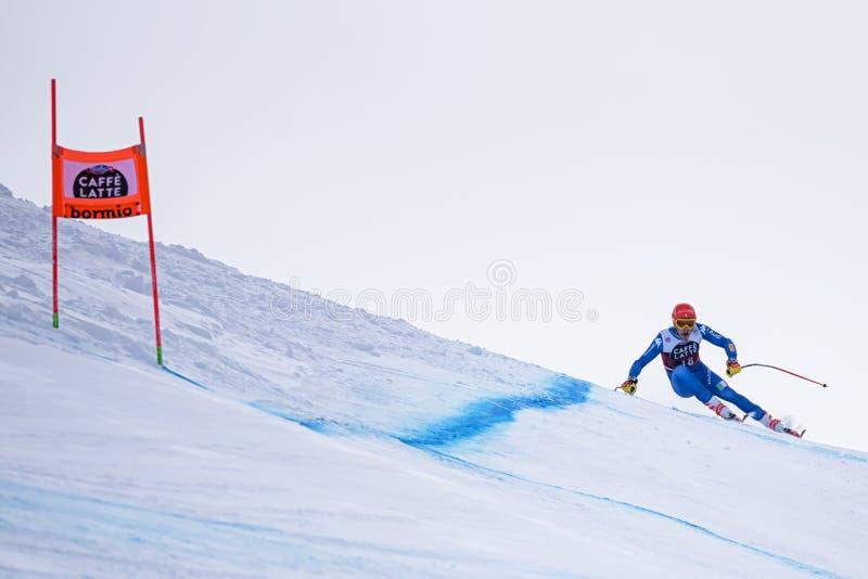 博尔米奥freeride滑雪世界杯12/28/2017 免版税库存照片