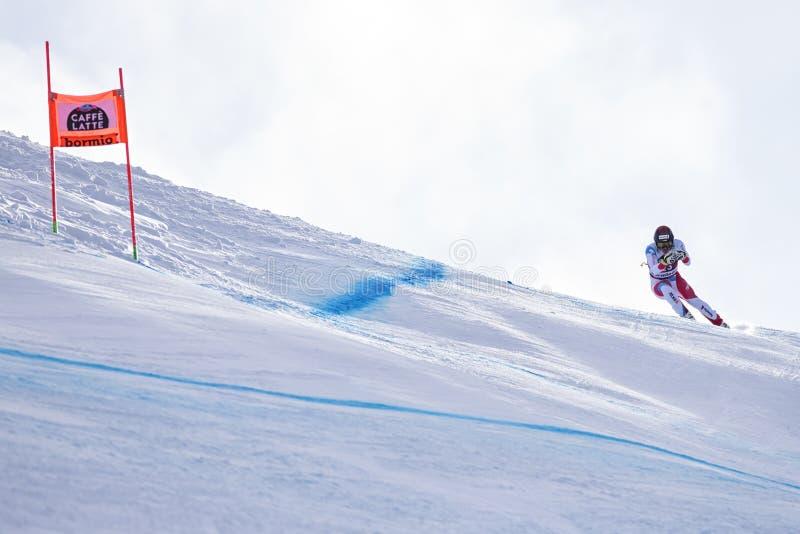 博尔米奥freeride滑雪世界杯12/28/2017 免版税库存图片