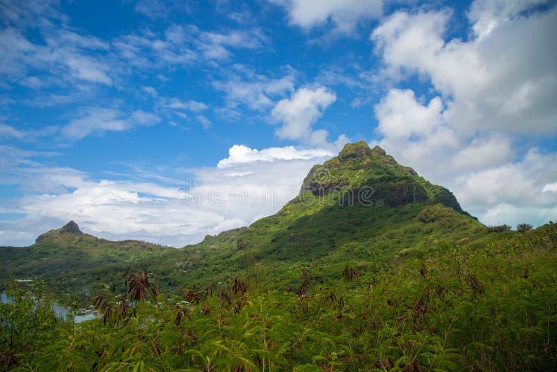 博拉博拉岛绿色山  免版税库存照片