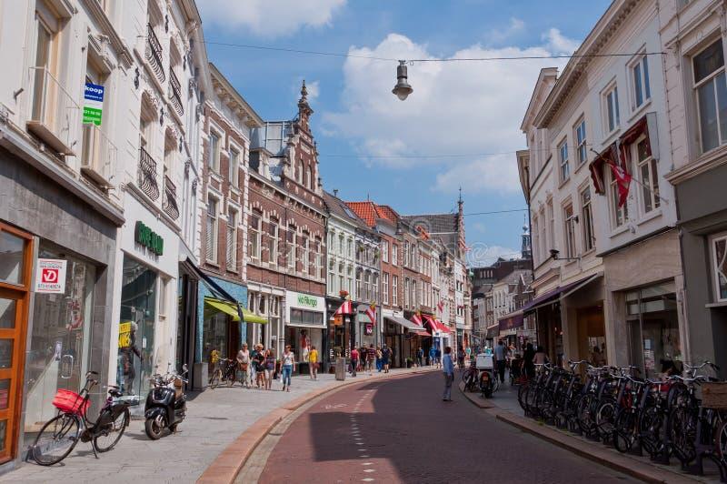 登博斯市中心典型的荷兰建筑学  免版税库存照片