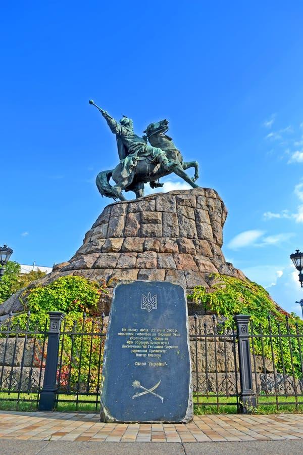 博格丹・赫梅利尼茨基(博格丹Khmelnytski)纪念碑在基辅,乌克兰, 免版税库存图片