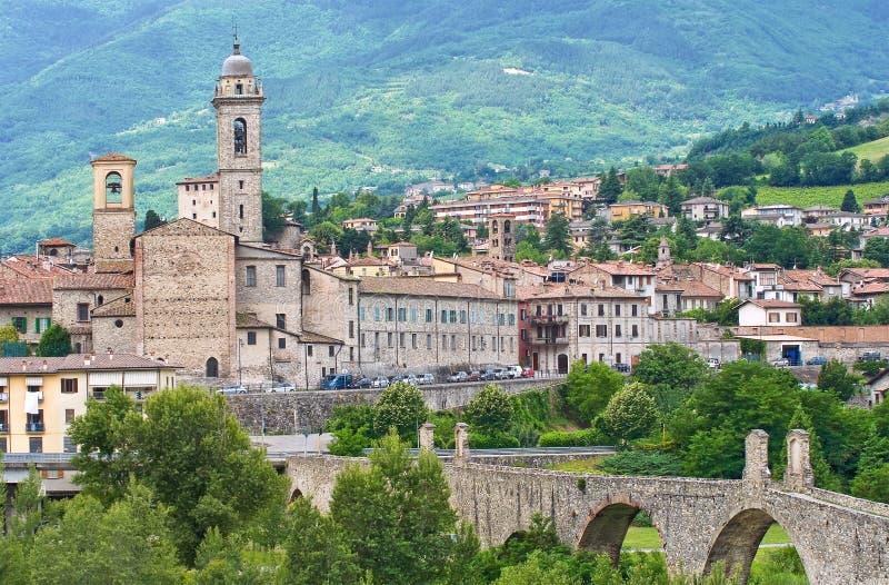 博比奥全景。伊米莉亚罗马甘。意大利。 免版税库存图片