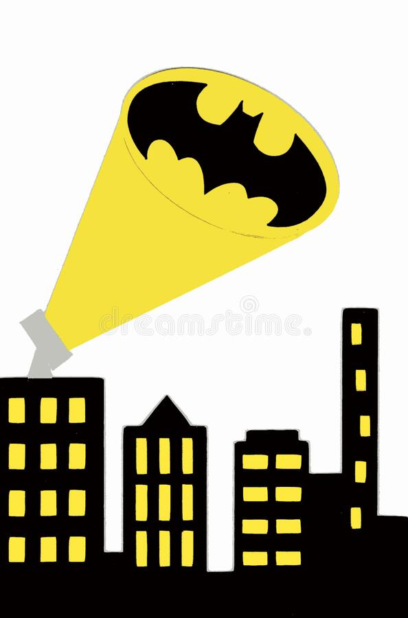 博洛尼亚/意大利 — 2019年9月28日:蝙蝠从高谭市角发出信号,庆祝巴特曼斯80岁生日 巴特马 库存例证