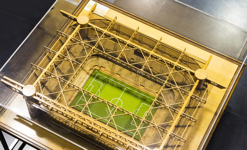 博物馆为橄榄球俱乐部国际米兰队和米兰T恤杉的球员是著名的在圣西罗体育场 库存照片