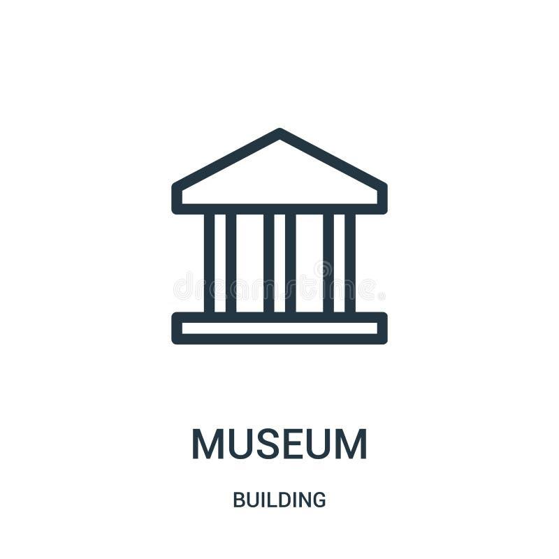 博物馆从大厦汇集的象传染媒介 稀薄的线博物馆概述象传染媒介例证 向量例证