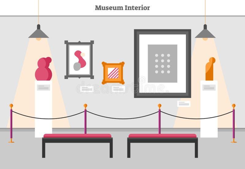 博物馆内部传染媒介例证 有抽象杰作和艺术的现代博览会室 装饰雕塑和绘画 库存例证