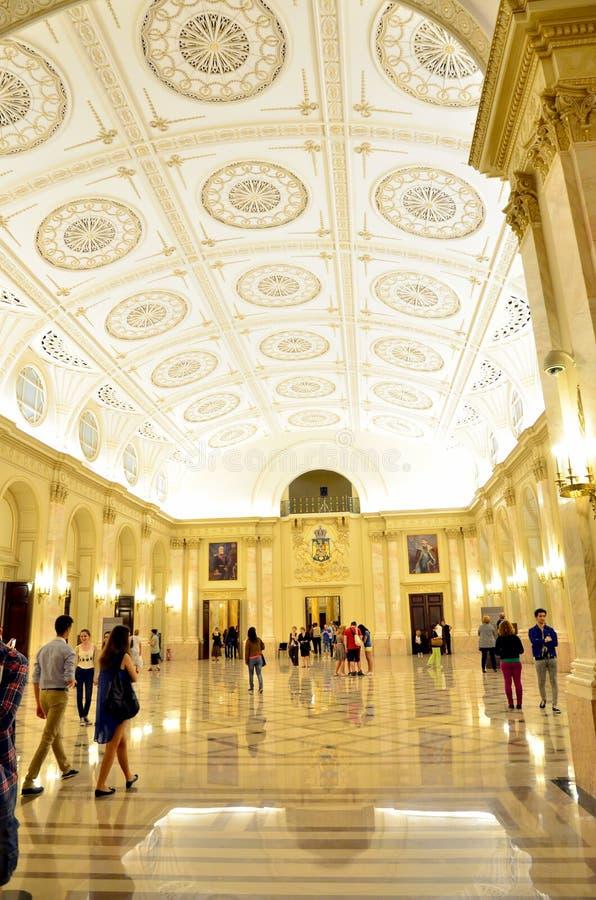 博物馆夜在布加勒斯特-全国艺术馆罗马尼亚的 免版税库存照片