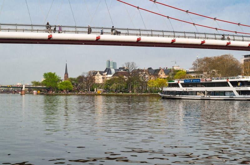 博物馆河岸,对主要河的南部的堤防的全景 法兰克福,德国- 2014年4月1日 免版税库存照片