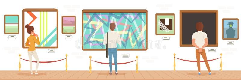 博物馆访客站立在五颜六色的绘画前面的现代艺术画廊的,出席博物馆水平的传染媒介的人们 库存例证
