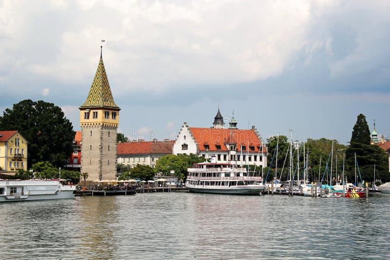博登湖的, Bodensee, Germa美丽的林道口岸港口 库存图片