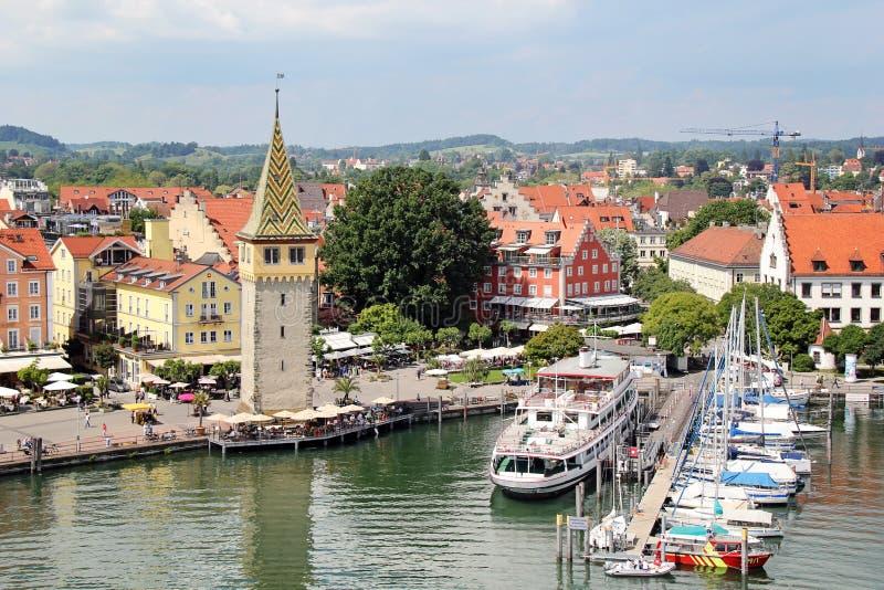 博登湖的, Bodensee, Germa美丽的林道口岸港口 免版税图库摄影