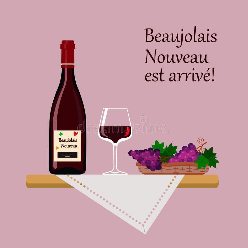 博若莱红葡萄酒与在桃红色背景和葡萄的Nouveau酒隔绝的玻璃 向量例证