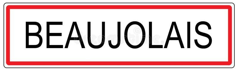 博若莱红葡萄酒城市交通标志例证在法国 库存例证