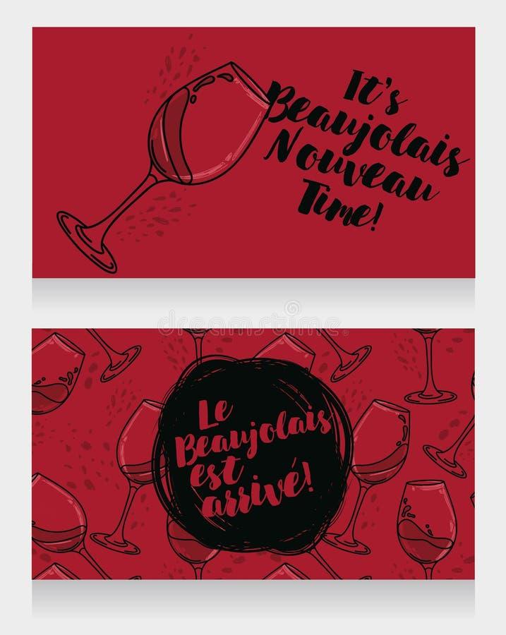 博若莱红葡萄酒的Nouveau两张海报到达 皇族释放例证