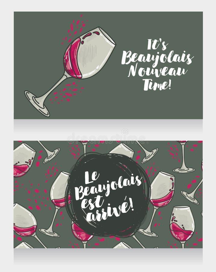 博若莱红葡萄酒的Nouveau两张海报到达 库存例证