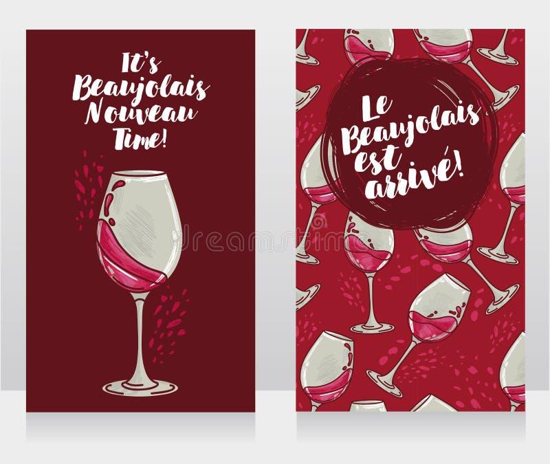博若莱红葡萄酒的Nouveau两张海报 皇族释放例证