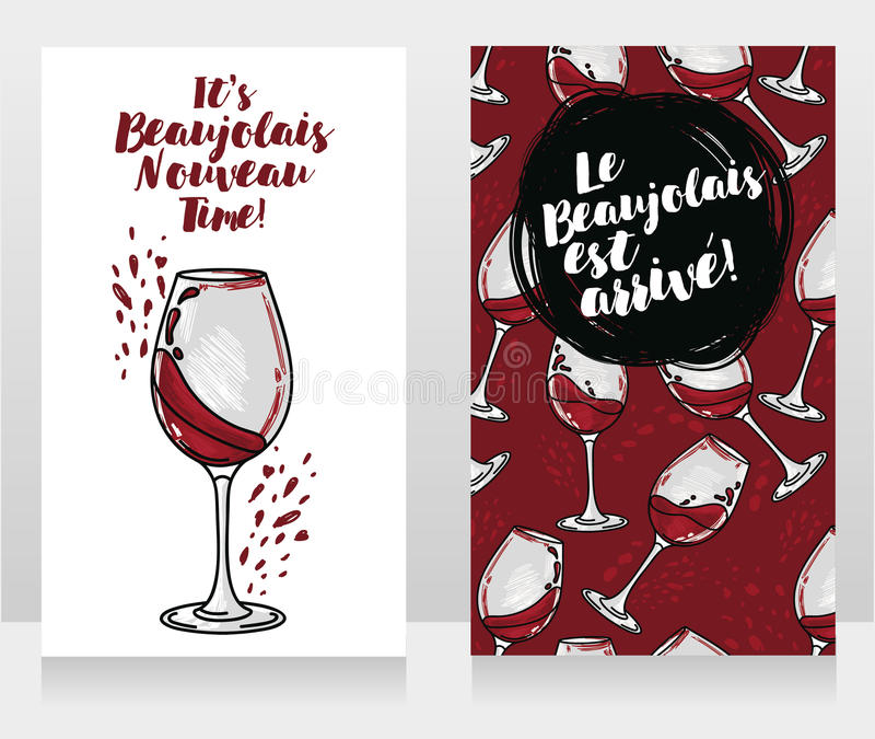 博若莱红葡萄酒的Nouveau两张海报 库存例证