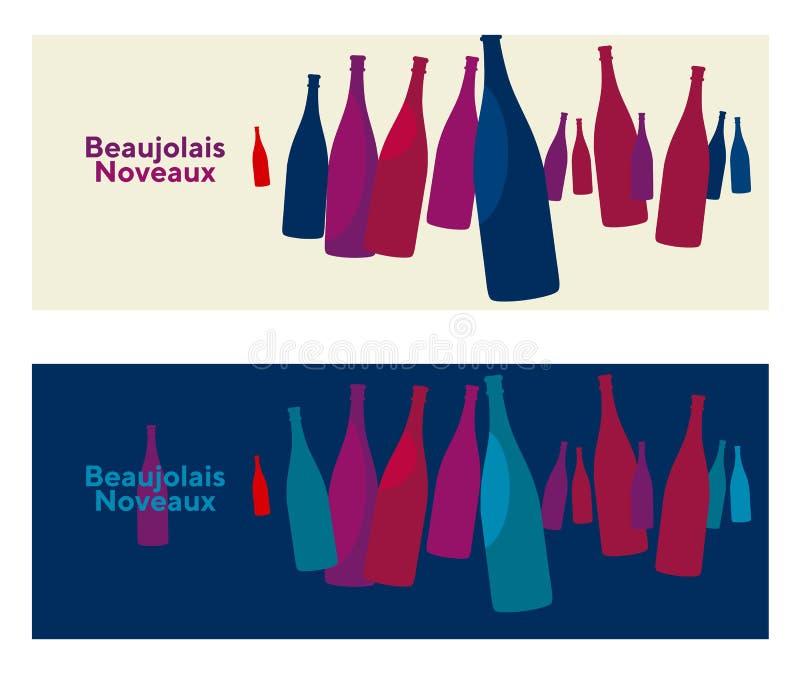 博若莱红葡萄酒nouveau概念摘要传染媒介海报 藤想法不适 库存例证