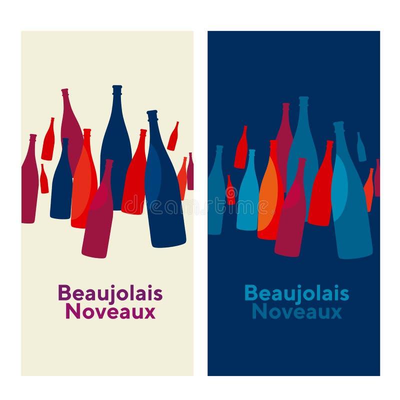 博若莱红葡萄酒nouveau概念摘要传染媒介海报 藤想法不适 向量例证