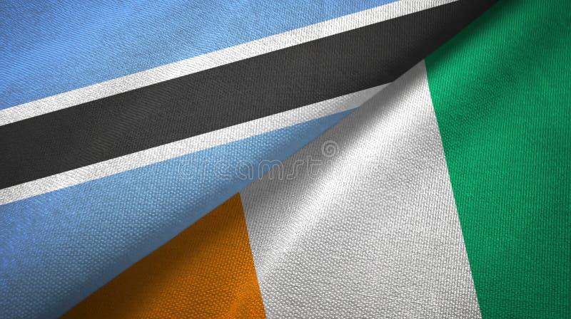 博茨瓦纳和科特迪瓦象牙海岸两旗子织物纹理 库存例证
