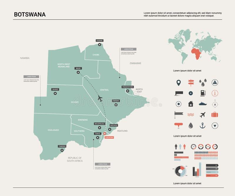 博茨瓦纳的传染媒介地图 与分裂、城市和首都哈博罗内的高详细的国家地图 政治地图,世界地图, 皇族释放例证