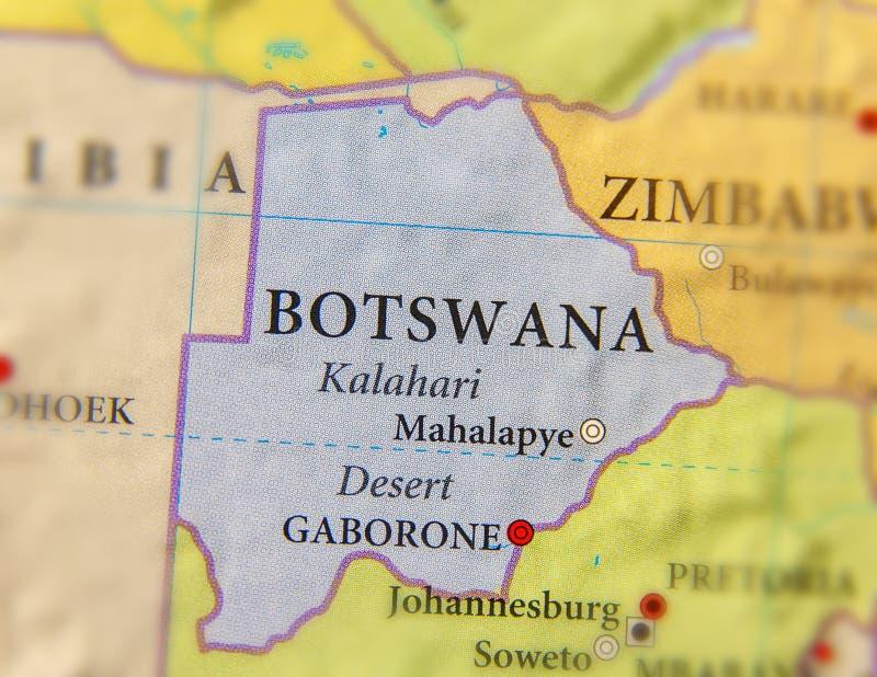 博茨瓦纳的地理地图有重要城市的 免版税库存照片