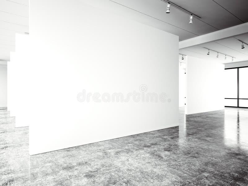 博览会现代画廊,露天场所 空白的白色空的帆布当代工业地方 完全内部顶楼样式 向量例证