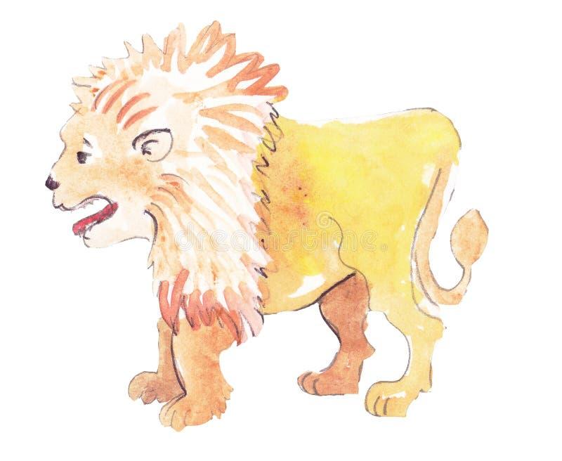 占位符水彩狮子 库存例证