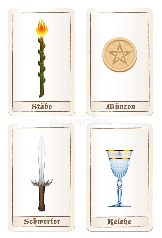 占卜用的纸牌元素五芒星形剑德语鞭子的杯 向量例证