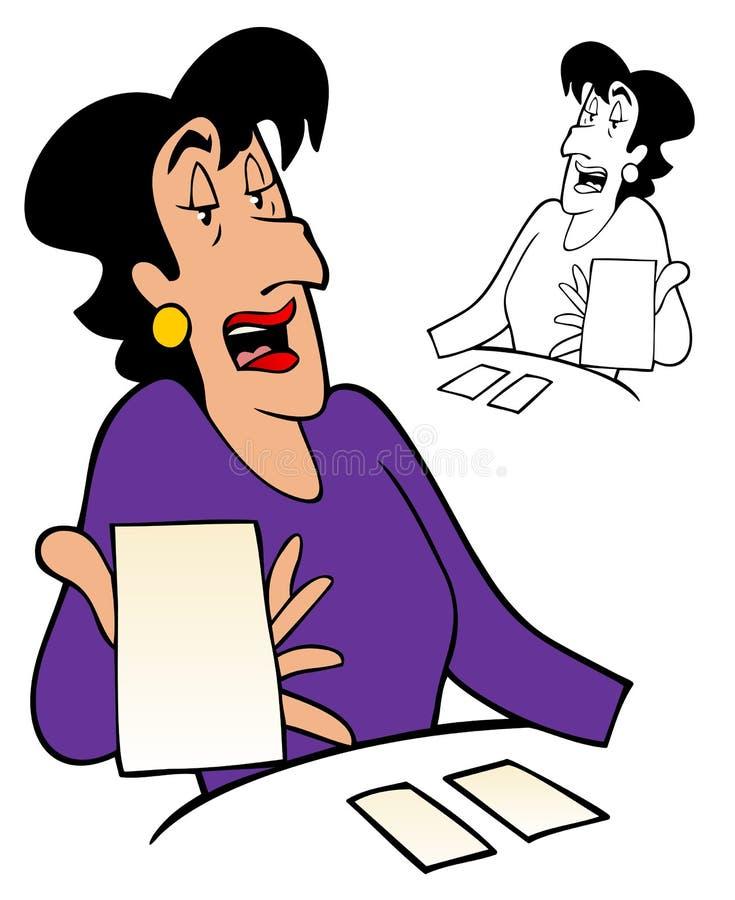 读占卜用的纸牌的妇女 库存例证