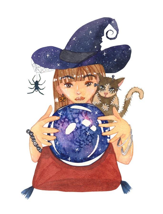 占卜者巫婆和蛇神猫与水晶星系球Wate 向量例证