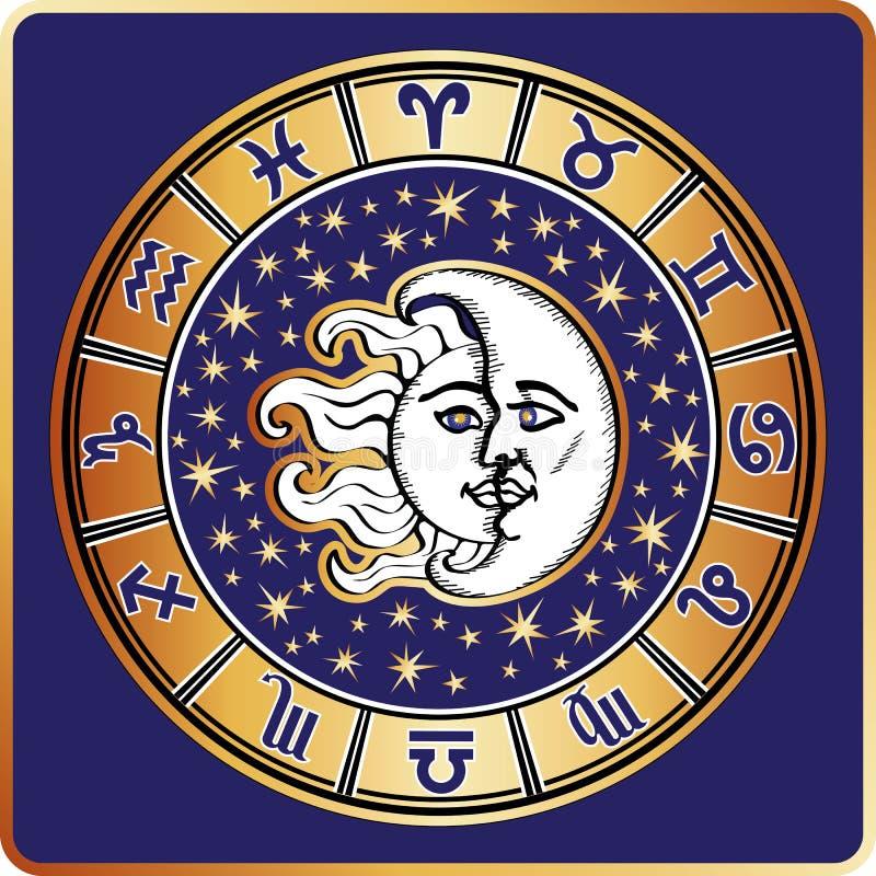 占星圈子 所有黄道带标志,月亮,太阳 库存例证