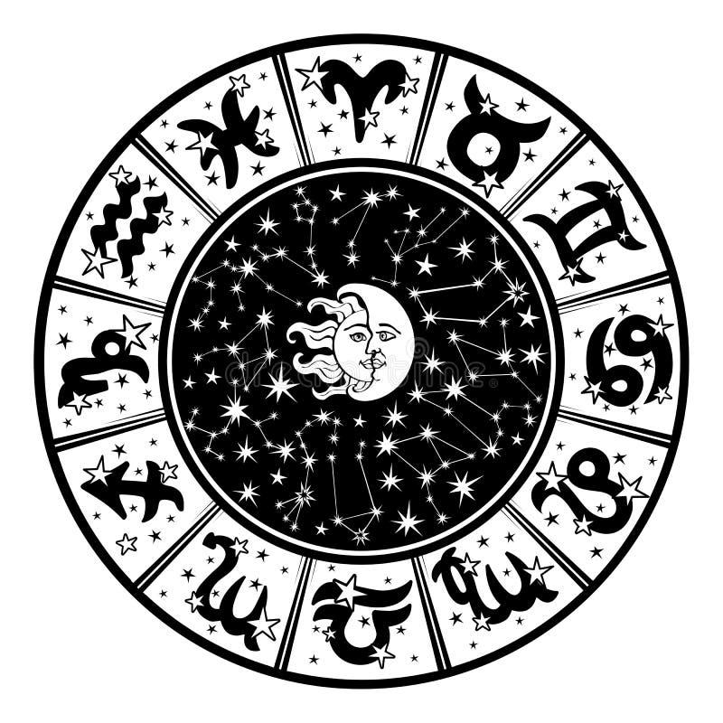 占星圈子 黄道带标志,月亮,太阳 白色,黑色 向量例证