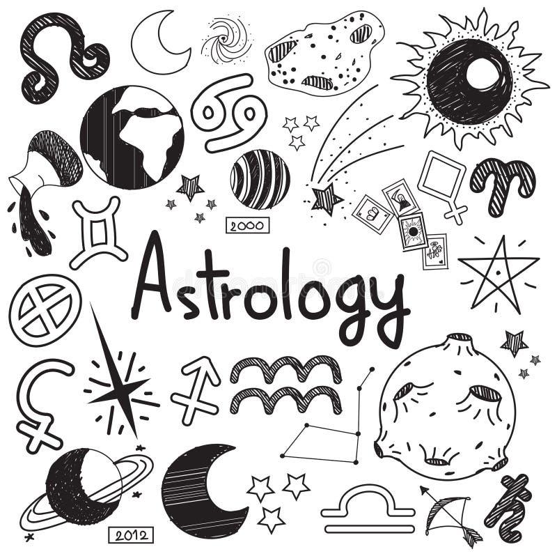 占星术和算命乱画标志和标志乱画 皇族释放例证
