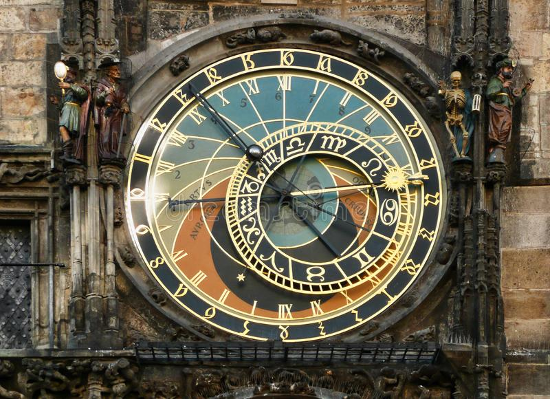 占星术尖沙咀钟楼,老塔正方形,布拉格,捷克 免版税库存图片