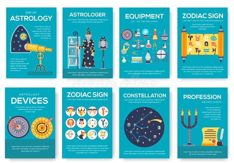 占星术房子小册子卡集 占星模板flyear,杂志,海报,书套,横幅 科学人 皇族释放例证