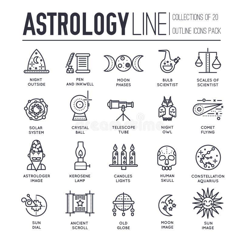 占星术房子稀薄的线象设计例证集合 平的概述占星项目概念 传染媒介照相机,透镜和 向量例证