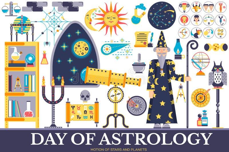 占星术房子象设计例证集合 平的占星项目概念 传染媒介例证布局背景 皇族释放例证