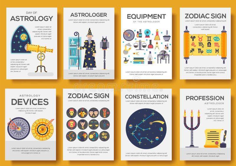 占星术房子象设计例证集合 平的占星项目概念 传染媒介例证布局背景 向量例证