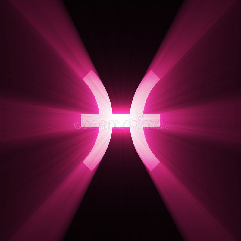 占星术火光光双鱼座符号 皇族释放例证