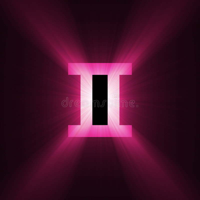 占星术火光双子星座轻的符号 库存例证