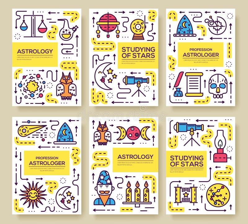 占星术稀薄的线小册子卡集 五颜六色的模板flyear,杂志,海报,书套,横幅 向量例证