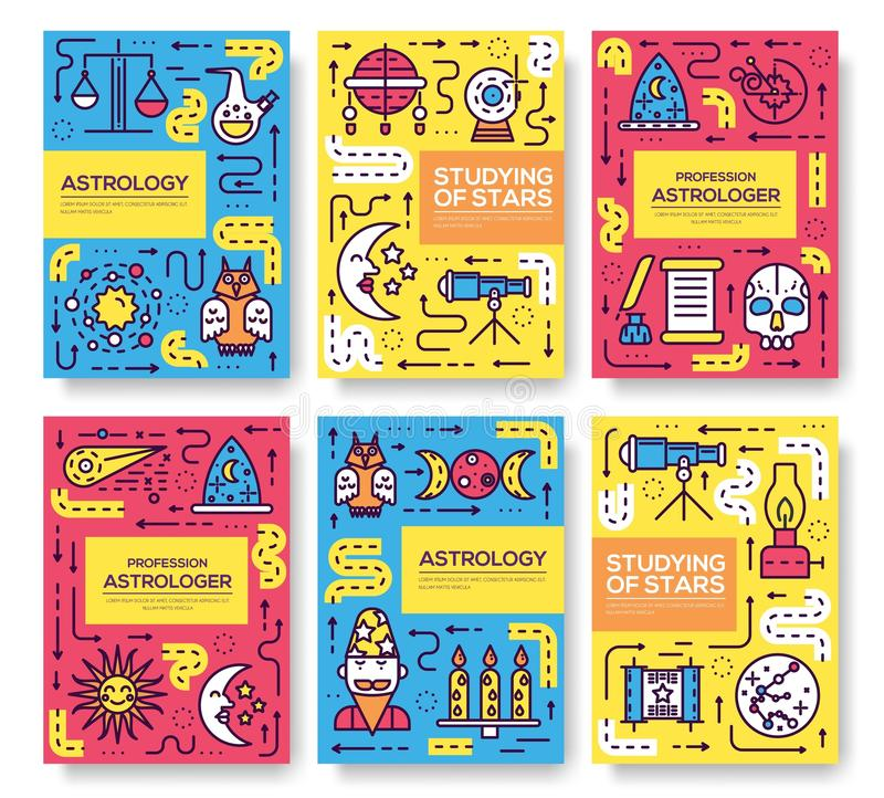 占星术稀薄的线小册子卡集 五颜六色的模板flyear,杂志,海报,书套,横幅 Studyin 皇族释放例证