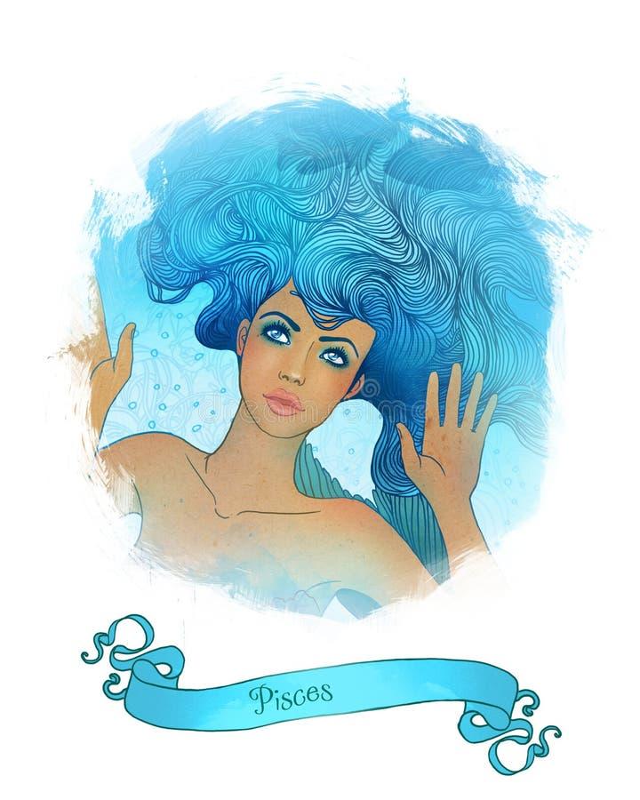 占星术美丽的女孩双鱼座签字 向量例证
