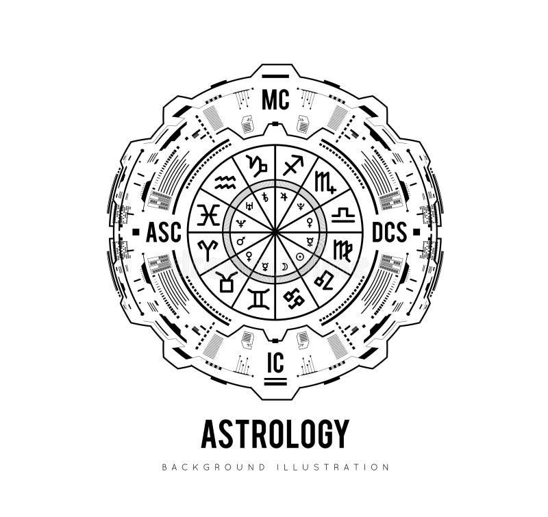 占星术背景 新生图、黄道带标志、房子和significators HUD接口未来派设计 向量 向量例证
