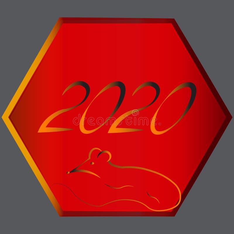 占星术黄道十二宫在中国东部亚洲日历的金属鼠 新年的标志的布局2020年, 免版税图库摄影