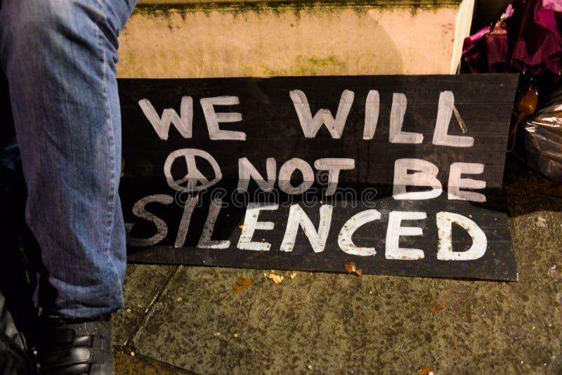占领民主不会是沈默回归到议会正方形 库存图片